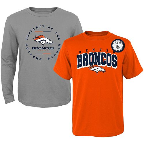 Youth Orange/Heathered Gray Denver Broncos Club Short Sleeve & Long Sleeve T-Shirt Combo Pack