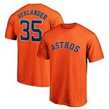 Men's Majestic Justin Verlander Orange Houston Astros Logo Official Name & Number T-Shirt