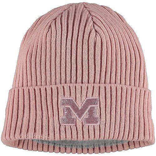 Women's New Era Pink Michigan Wolverines Team Glisten Cuffed Knit Hat