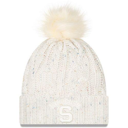 Women's New Era White Syracuse Orange Fuzzy Cuffed Knit Hat with Pom