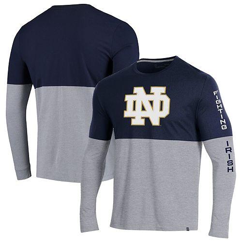 Men's Under Armour Navy/Heathered Gray Notre Dame Fighting Irish OT Long Sleeve Performance T-Shirt