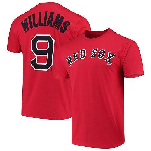 Men's Majestic Ted Williams Red Boston Red Sox Cooperstown Collection Official Name & Number T-Shirt