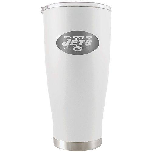 New York Jets 20oz. Etched Team Logo Tumbler - White