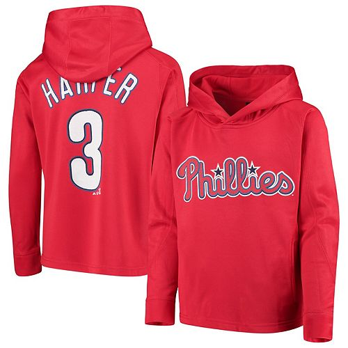 Youth Majestic Bryce Harper Red Philadelphia Phillies Player Name & Number Pullover Hoodie