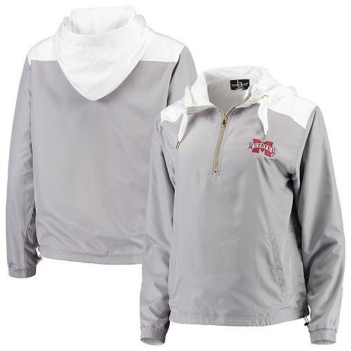 Women's Gray/White Mississippi State Bulldogs Colorblock Anorak Quarter-Zip Pullover Jacket