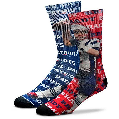 Men's For Bare Feet Tom Brady New England Patriots Say My Name Crew Socks