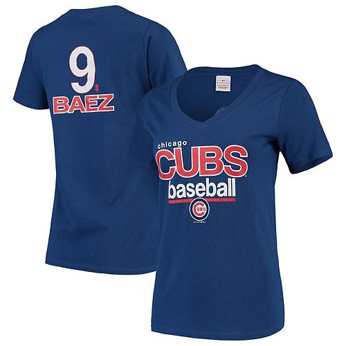 Javier Baez Chicago Cubs 5th & Ocean by New Era Women's Baby Jersey Flipped Number & Name V-Neck T-Shirt - Royal