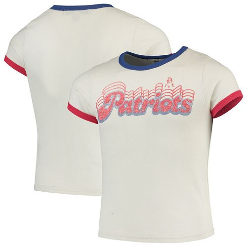 Girls Youth Junk Food White New England Patriots Throwback Retro Ringer T-Shirt