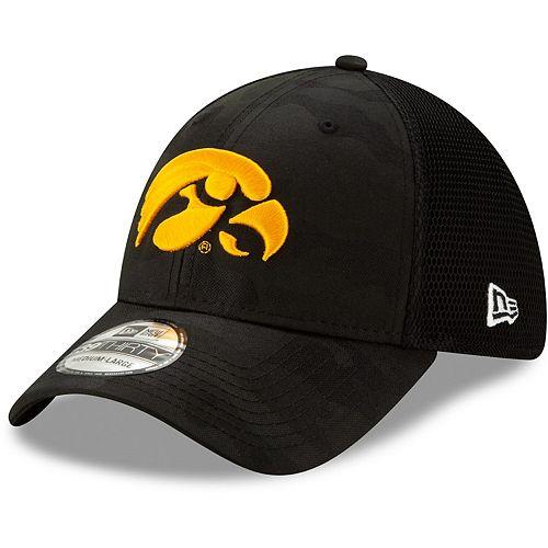 Men's New Era Black Iowa Hawkeyes Camo Neo Front 39THIRTY Flex Hat