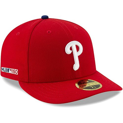 Men's New Era Red Philadelphia Phillies MLB 150th Anniversary Authentic Collection Low Profile 59FIFTY Fitted Hat