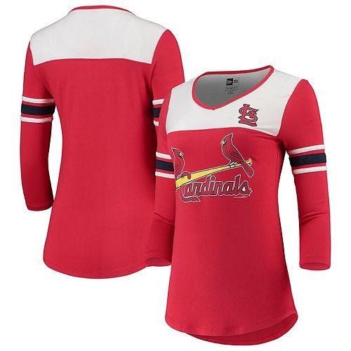 St. Louis Cardinals New Era Women's 3/4-Sleeve Raglan V-Neck T-Shirt - Red