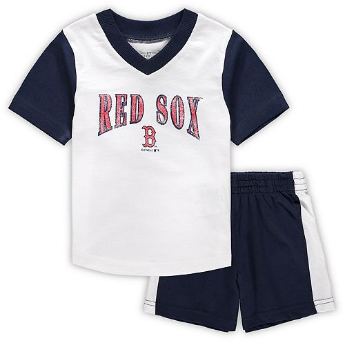 Infant White/Navy Boston Red Sox Little Hitter V-Neck T-Shirt & Shorts Set