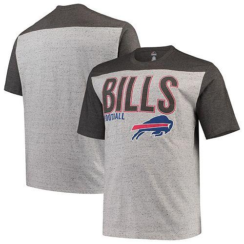 Men's Heathered Gray Buffalo Bills Big & Tall Contrast Yoke Fleck T-Shirt
