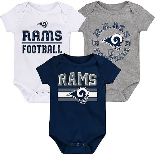 Newborn & Infant Navy/White Los Angeles Rams First & Ten 3-Pack Bodysuit Set