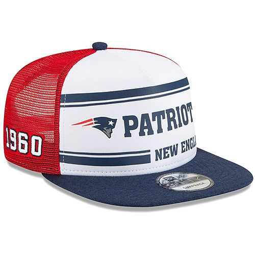Men's New Era White/Red New England Patriots 2019 NFL Sideline Home Alternate Logo 9FIFTY 1970s Snapback Adjustable Hat