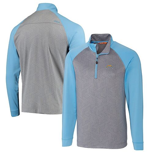 Men's CBUK by Cutter & Buck Gray/Powder Blue Los Angeles Chargers All-Star Half-Zip Pullover Jacket