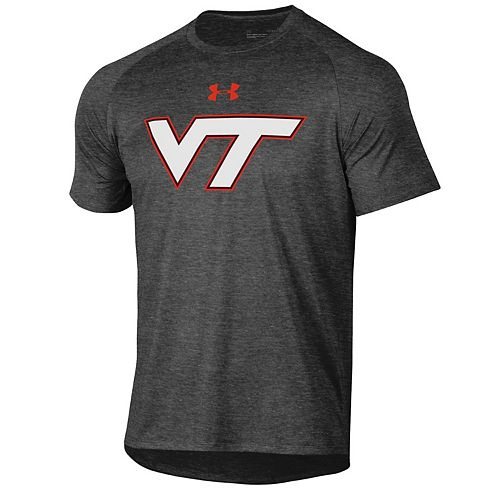 Men's Under Armour Heathered Charcoal Virginia Tech Hokies School Logo Tech 2.0 Performance T-Shirt
