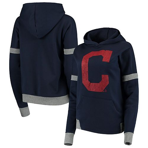 Women's Majestic Threads Navy/Gray Cleveland Indians Iconic Fleece Pullover Hoodie