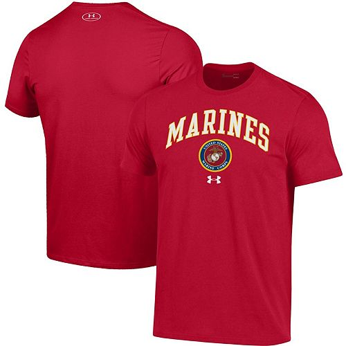 Men's Under Armour Red United States Marine Corps Arched Logo Performance T-Shirt