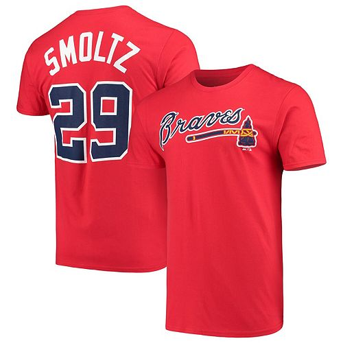 Men's Majestic John Smoltz Red Atlanta Braves Cooperstown Collection Official Name & Number T-Shirt