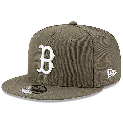 Men's New Era Olive Boston Red Sox Basic 9FIFTY Adjustable Snapback Hat