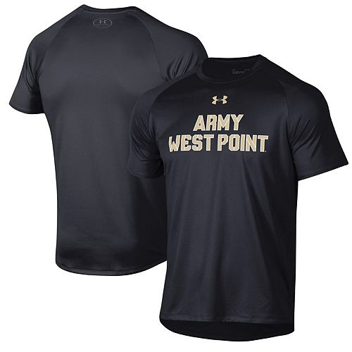 Men's Under Armour Black Army Black Knights Wordmark School Logo Tech 2.0 Performance T-Shirt