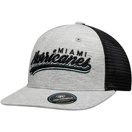 Youth Top of the World Gray Miami Hurricanes Cutter Adjustable Hat
