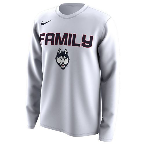 Men's Nike White UConn Huskies March Madness Family on Court Legend Basketball Performance Long Sleeve T-Shirt