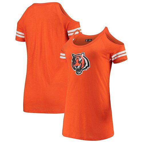 Women's New Era Orange Cincinnati Bengals Varsity Cold Shoulder T-Shirt