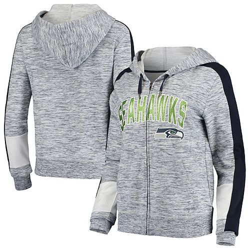 Women's New Era College Navy Seattle Seahawks Athletic Space Dye Full-Zip Hoodie
