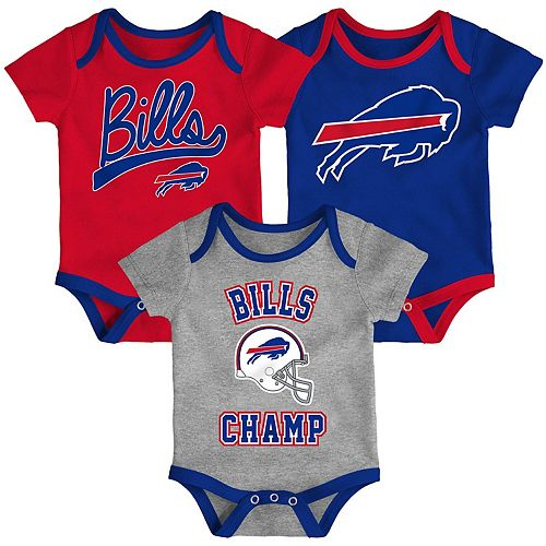 Infant Red/Royal/Heathered Gray Buffalo Bills Champ 3-Piece Bodysuit Set
