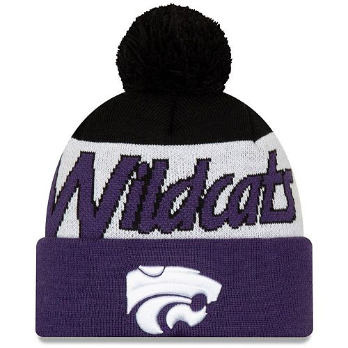 Men's New Era Purple Kansas State Wildcats Script Cuffed Knit Hat with Pom
