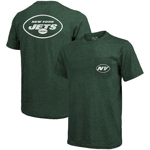 New York Jets Majestic Threads Tri-Blend Pocket T-Shirt - Heathered Green