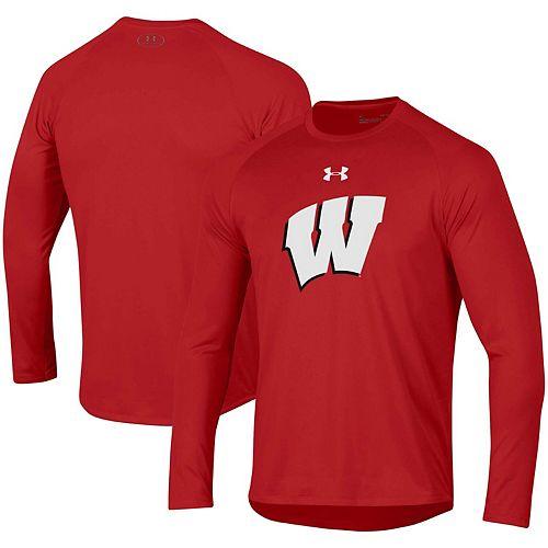 Men's Under Armour Red Wisconsin Badgers School Logo Tech 2.0 Performance Long Sleeve T-Shirt