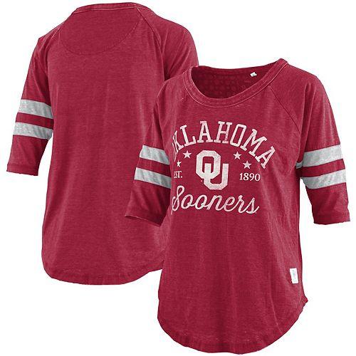 Women's Pressbox Heathered Crimson Oklahoma Sooners Jade Vintage Washed 3/4-Sleeve Raglan Jersey T-Shirt