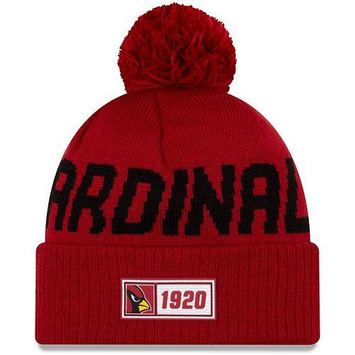 Youth New Era Cardinal Arizona Cardinals 2019 NFL Sideline Road Sport Knit Hat