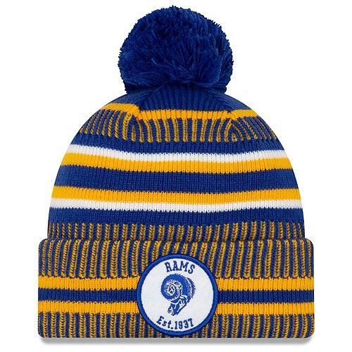 Men's New Era Royal/Gold Los Angeles Rams 2019 NFL Sideline Home Official Historic Logo Sport Knit Hat - skull