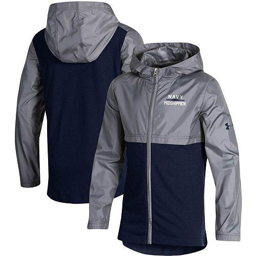 Youth Under Armour Navy Navy Midshipmen Woven Layer Full-Zip Jacket
