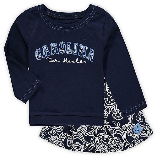 Girls Toddler Colosseum Navy North Carolina Tar Heels Birdie Long Sleeve T-Shirt and Skirt Set