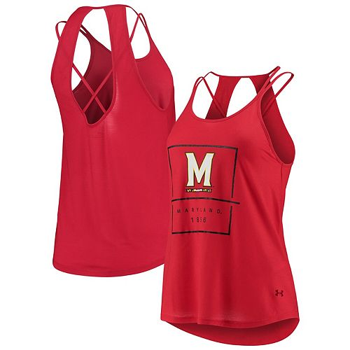 Women's Under Armour Red Maryland Terrapins Performance Lux Tank Top