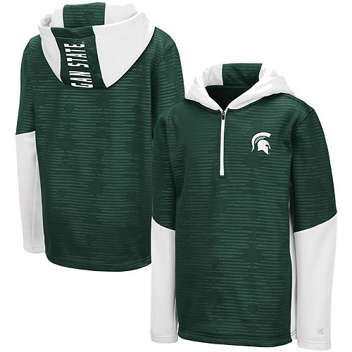 Youth Colosseum Green Michigan State Spartans Newt Quarter-Zip Hoodie