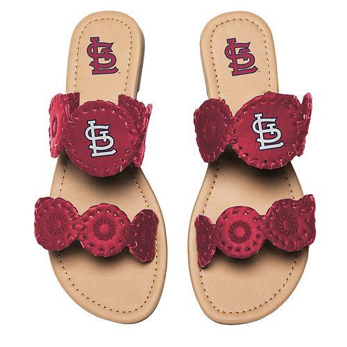 Women's St. Louis Cardinals Double Strap Whip Stitch Sandals