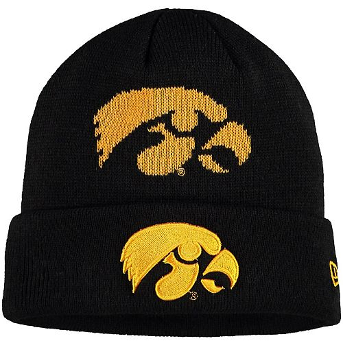 Youth New Era Black Iowa Hawkeyes Logo Whiz Cuffed Knit Hat