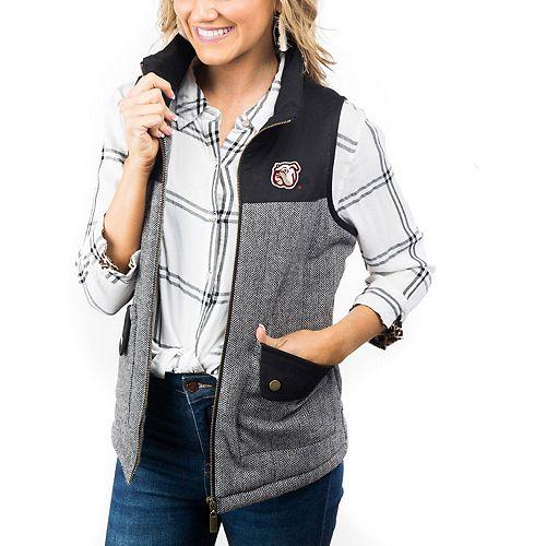Women's Black Mississippi State Bulldogs Prep For It Herringbone Knit Full-Zip Vest