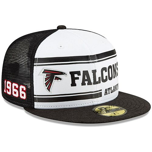 Men's New Era White/Black Atlanta Falcons 2019 NFL Sideline Home Official 59FIFTY 1970s Fitted Hat