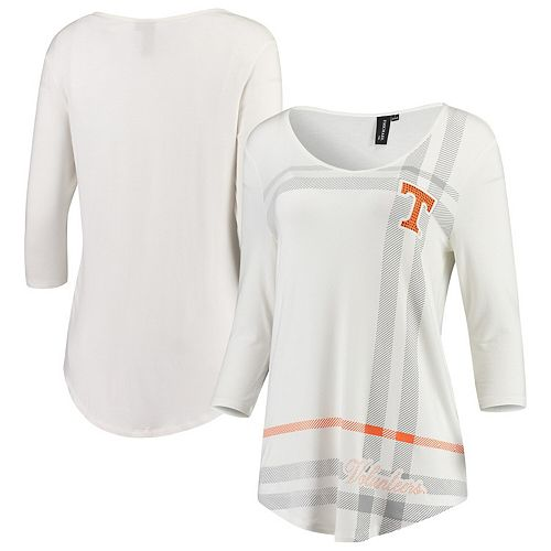 Women's White Tennessee Volunteers Missy Plaid 3/4-Sleeve V-Neck T-Shirt