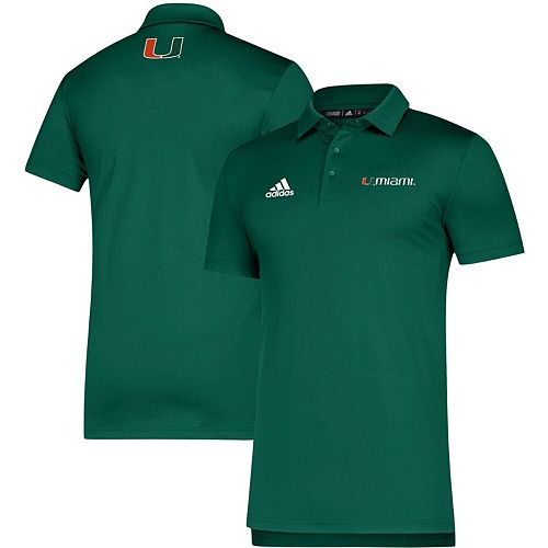 Men's adidas Green Miami Hurricanes Team Sideline Coordinator climalite Polo