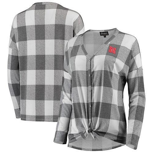 Women's Gray/White Nebraska Cornhuskers Check Your Facts Plaid Button-Up Long Sleeve Shirt