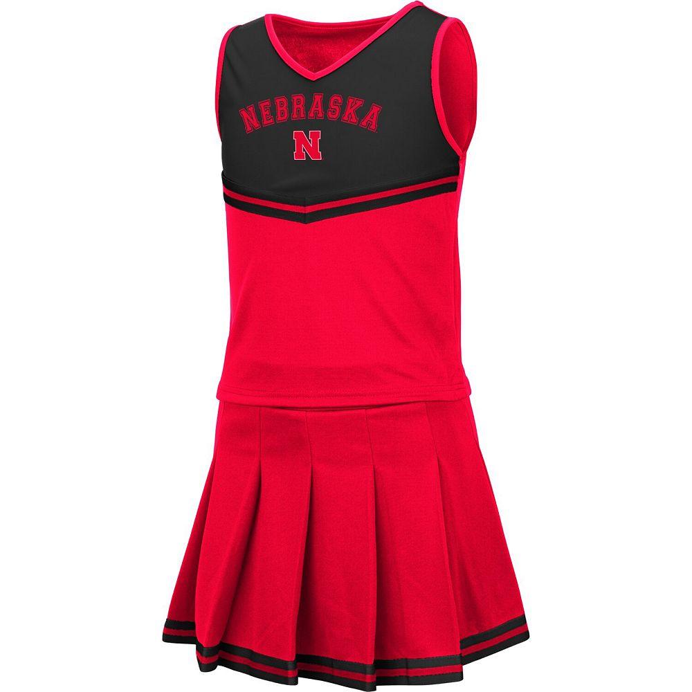 Girls Youth Colosseum Scarlet Nebraska Cornhuskers Pinky Cheer Dress