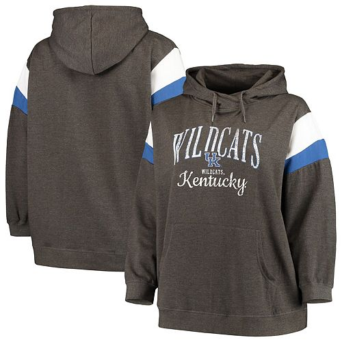 Women's Heathered Black Kentucky Wildcats Plus Size Oceanview Burnout Wash Pullover Hoodie